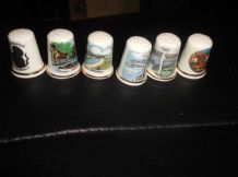 6 X ELEGANT BONE CHINA THIMBLES COLLECTION FROM CORNWALL ALL DIFFERENT DESIGNS
